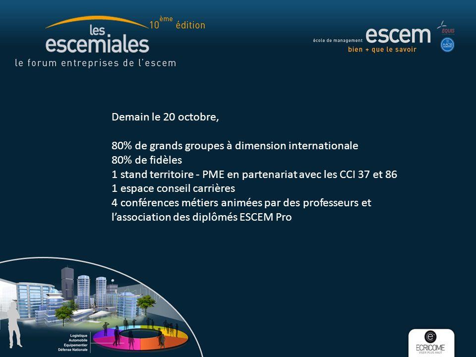 Demain le 20 octobre, 80% de grands groupes à dimension internationale 80% de fidèles 1 stand territoire - PME en partenariat avec les CCI 37 et 86 1