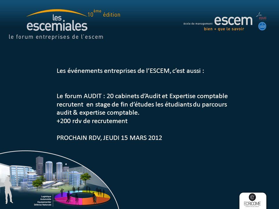 Les événements entreprises de lESCEM, cest aussi : Le forum AUDIT : 20 cabinets dAudit et Expertise comptable recrutent en stage de fin détudes les étudiants du parcours audit & expertise comptable.