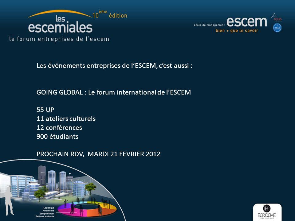Les événements entreprises de lESCEM, cest aussi : GOING GLOBAL : Le forum international de lESCEM 55 UP 11 ateliers culturels 12 conférences 900 étud