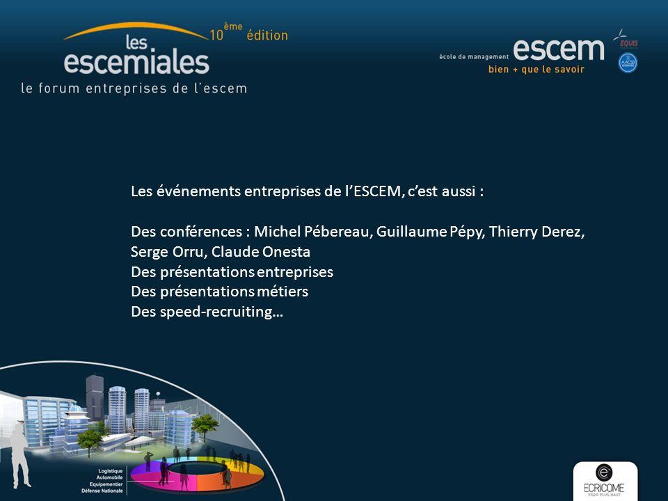 Les événements entreprises de lESCEM, cest aussi : Des conférences : Michel Pébereau, Guillaume Pépy, Thierry Derez, Serge Orru, Claude Onesta Des pré
