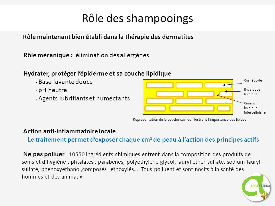 Rôle des shampooings Représentation de la couche cornée illustrant limportance des lipides Cornéocyte Enveloppe lipidique Ciment lipidique intercellulaire Rôle maintenant bien établi dans la thérapie des dermatites Rôle mécanique : élimination des allergènes Hydrater, protéger lépiderme et sa couche lipidique Base lavante douce pH neutre Agents lubrifiants et humectants Action anti-inflammatoire locale Le traitement permet dexposer chaque cm 2 de peau à laction des principes actifs Ne pas polluer : 10550 ingrédients chimiques entrent dans la composition des produits de soins et dhygiène : phtalates, parabenes, polyethylène glycol, lauryl ether sulfate, sodium lauryl sulfate, phenoxyethanol,composés ethoxylés….