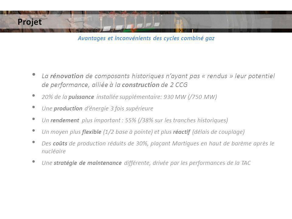 Projet Avantages et inconvénients des cycles combiné gaz La rénovation de composants historiques nayant pas « rendus » leur potentiel de performance,