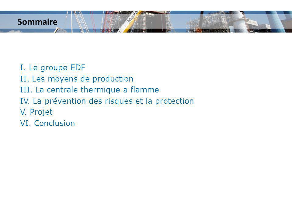 I. Le groupe EDF II. Les moyens de production III. La centrale thermique a flamme IV. La prévention des risques et la protection V. Projet VI. Conclus