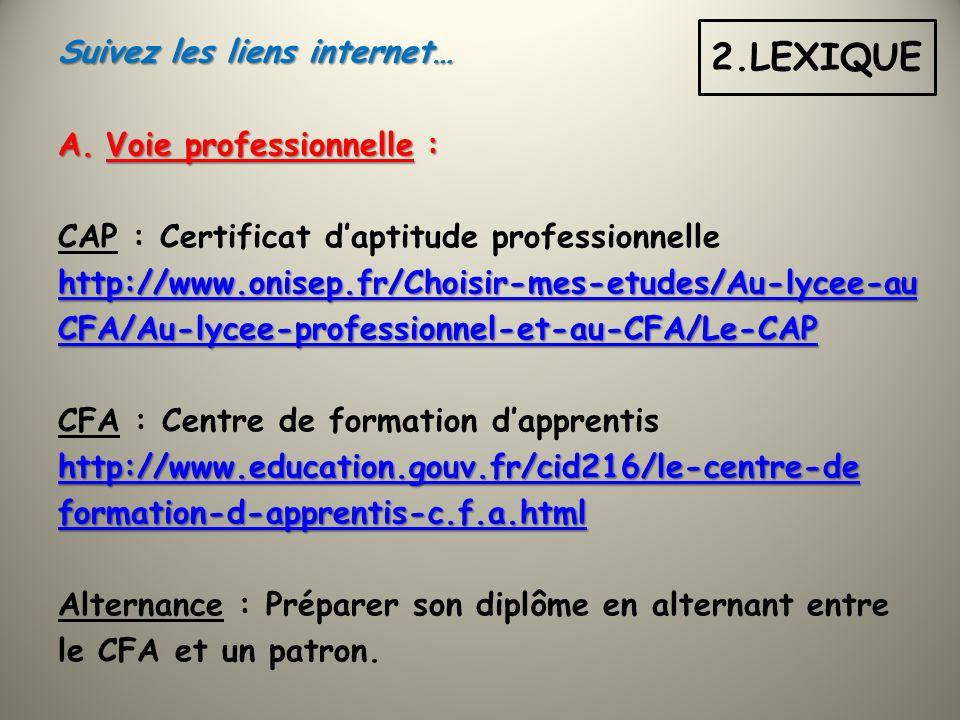 Suivez les liens internet… A.Voie professionnelle : CAP : Certificat daptitude professionnelle http://www.onisep.fr/Choisir-mes-etudes/Au-lycee-au CFA/Au-lycee-professionnel-et-au-CFA/Le-CAP CFA : Centre de formation dapprentis http://www.education.gouv.fr/cid216/le-centre-de formation-d-apprentis-c.f.a.html Alternance : Préparer son diplôme en alternant entre le CFA et un patron.