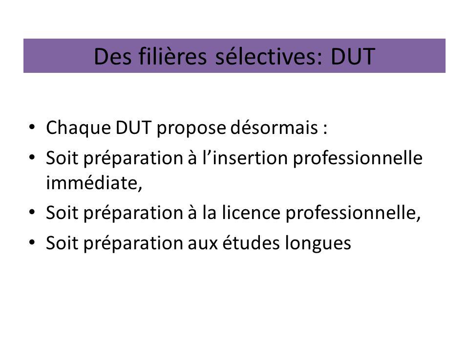 Des filières sélectives: DUT Chaque DUT propose désormais : Soit préparation à linsertion professionnelle immédiate, Soit préparation à la licence pro