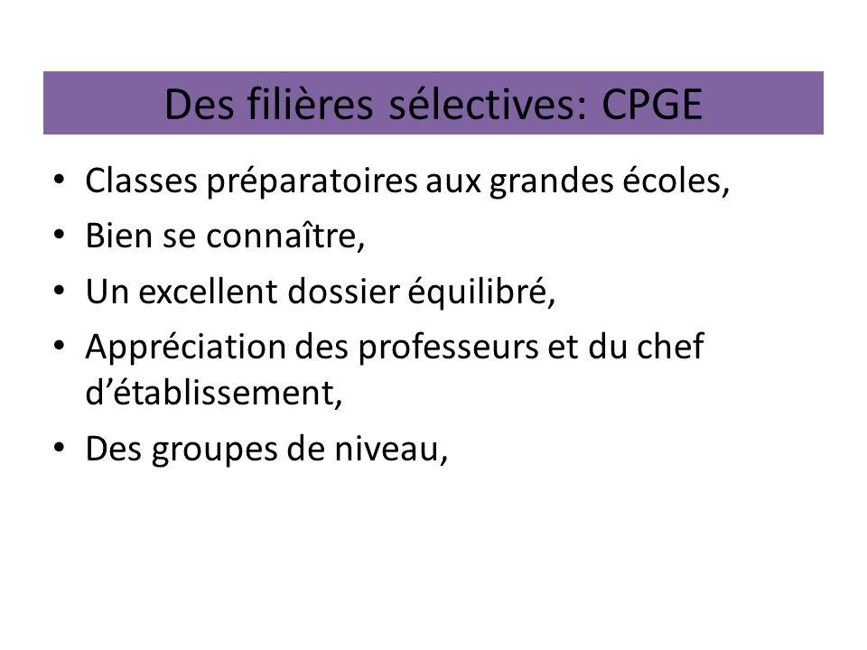 Des filières sélectives: CPGE Classes préparatoires aux grandes écoles, Bien se connaître, Un excellent dossier équilibré, Appréciation des professeurs et du chef détablissement, Des groupes de niveau,