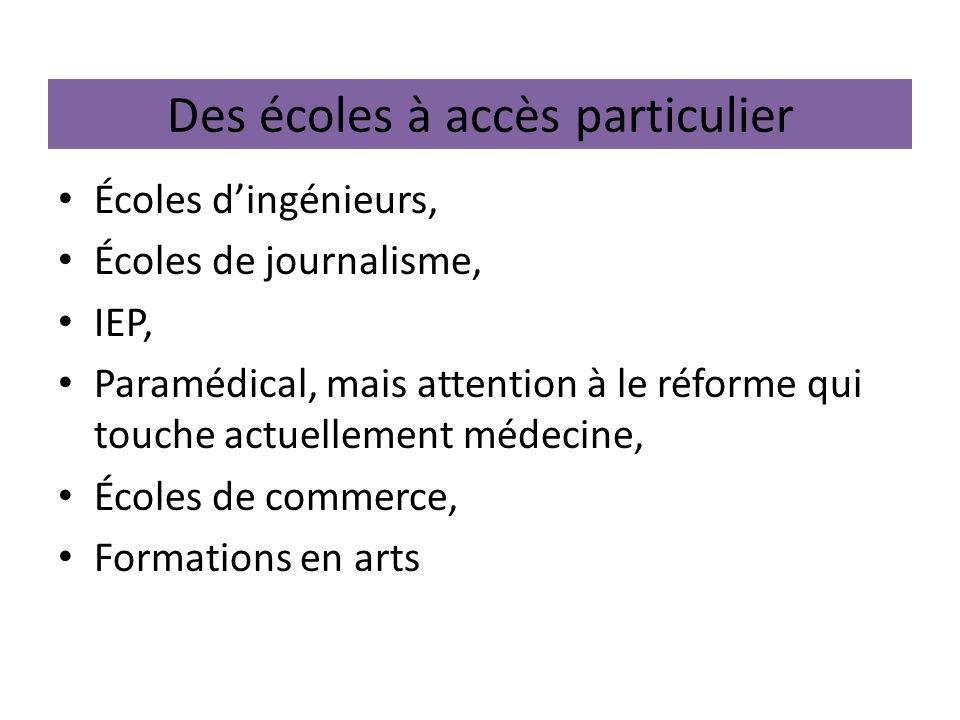 Des écoles à accès particulier Écoles dingénieurs, Écoles de journalisme, IEP, Paramédical, mais attention à le réforme qui touche actuellement médeci
