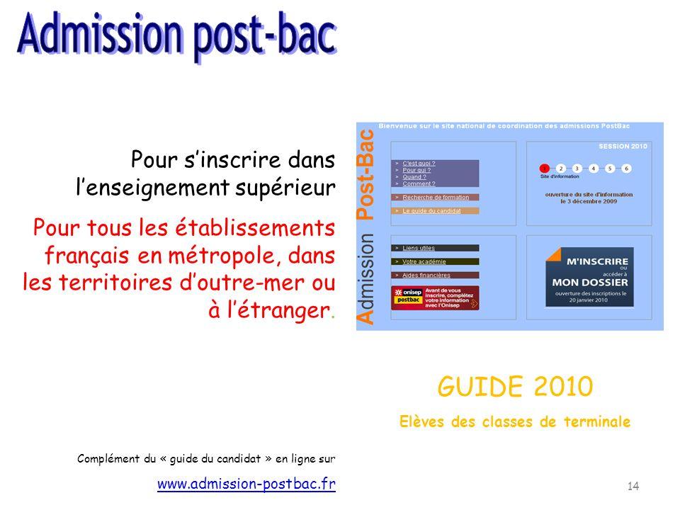 14 Pour sinscrire dans lenseignement supérieur Pour tous les établissements français en métropole, dans les territoires doutre-mer ou à létranger. Com