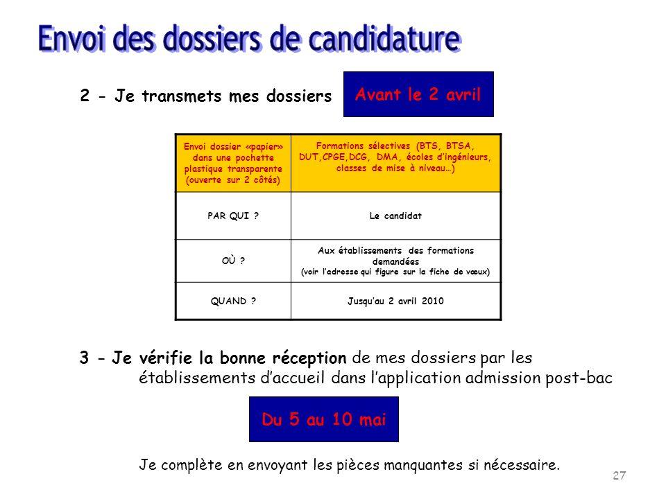 Envoi dossier «papier» dans une pochette plastique transparente (ouverte sur 2 côtés) Formations sélectives (BTS, BTSA, DUT,CPGE,DCG, DMA, écoles ding