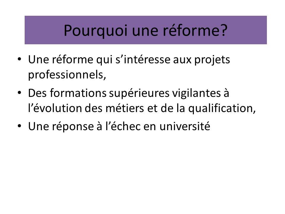 Pourquoi une réforme? Une réforme qui sintéresse aux projets professionnels, Des formations supérieures vigilantes à lévolution des métiers et de la q