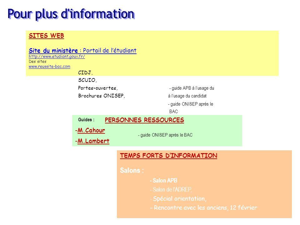 41 SITES WEB Site du ministère : Portail de létudiant http://www.etudiant.gouv.fr/ Des sites www.reussite-bac.com PERSONNES RESSOURCES -M.Cahour -M.Lambert TEMPS FORTS DINFORMATION Salons : - Salon APB - Salon de lADREP, - Spécial orientation, - Rencontre avec les anciens, 12 février CIDJ, SCUIO, Portes-ouvertes, - guide APB à lusage du Brochures ONISEP, à lusage du candidat - guide ONISEP après le BAC Guides : - guide ONISEP après le BAC