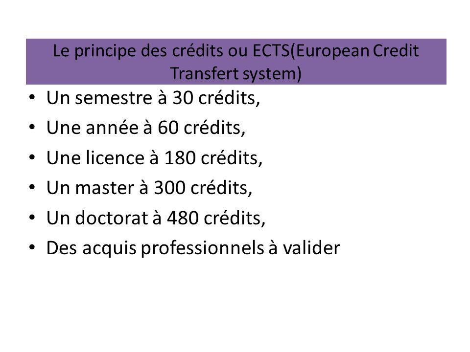 Le principe des crédits ou ECTS(European Credit Transfert system) Un semestre à 30 crédits, Une année à 60 crédits, Une licence à 180 crédits, Un mast