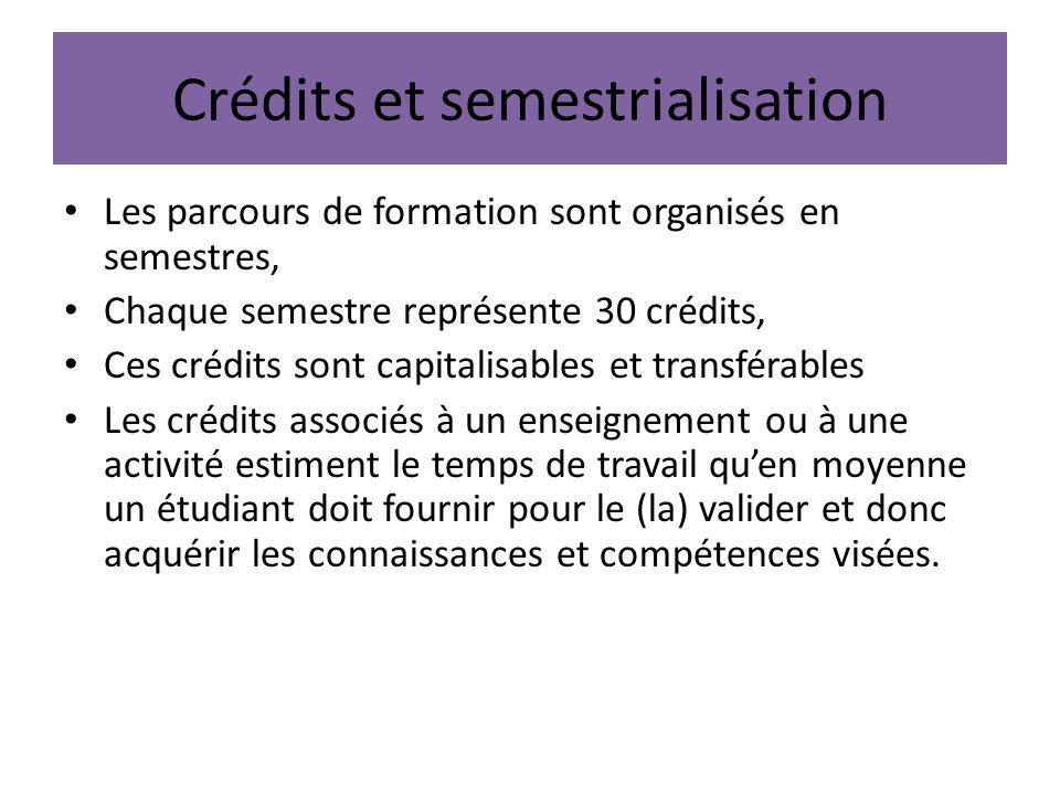 Crédits et semestrialisation Les parcours de formation sont organisés en semestres, Chaque semestre représente 30 crédits, Ces crédits sont capitalisa