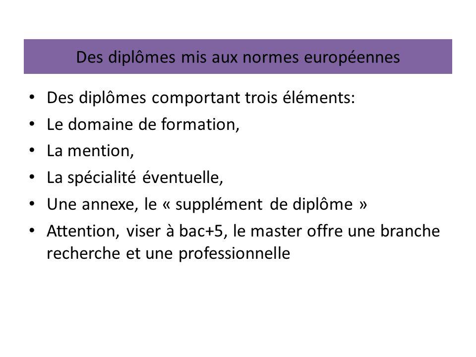 Des diplômes mis aux normes européennes Des diplômes comportant trois éléments: Le domaine de formation, La mention, La spécialité éventuelle, Une ann