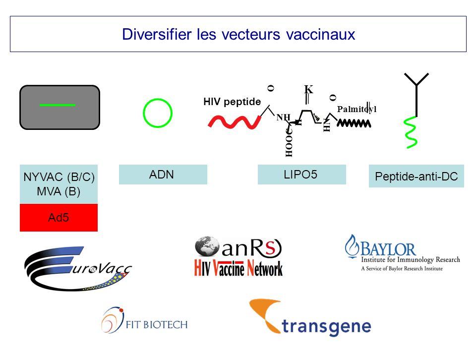 Diversifier les vecteurs vaccinaux NYVAC (B/C) MVA (B) LIPO5 Peptide-anti-DC ADN Ad5 O HN HOOC H NH K Palmitoyl O HIV peptide