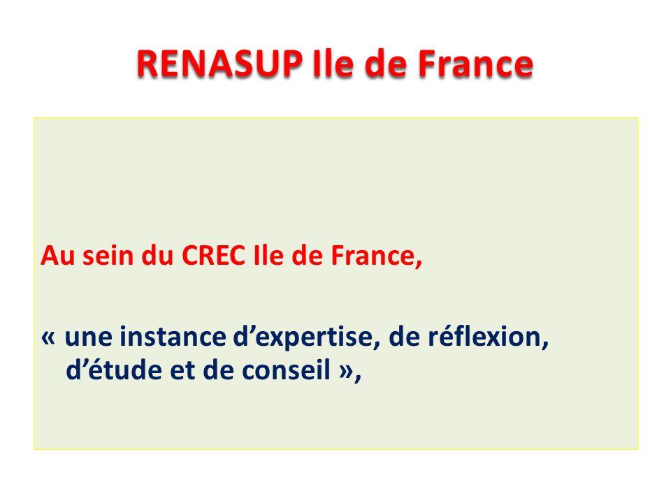 RENASUP Ile de France Au sein du CREC Ile de France, « une instance dexpertise, de réflexion, détude et de conseil »,