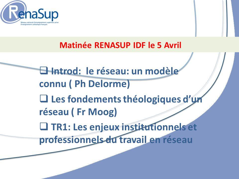 Introd: le réseau: un modèle connu ( Ph Delorme) Les fondements théologiques dun réseau ( Fr Moog) TR1: Les enjeux institutionnels et professionnels du travail en réseau Matinée RENASUP IDF le 5 Avril