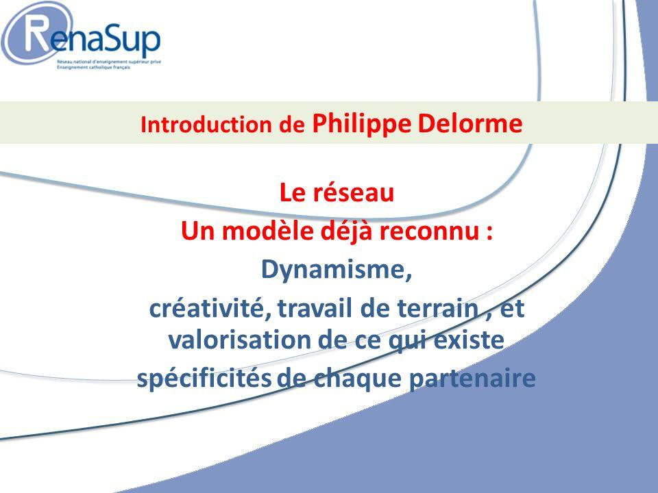 Le réseau Un modèle déjà reconnu : Dynamisme, créativité, travail de terrain, et valorisation de ce qui existe spécificités de chaque partenaire Introduction de Philippe Delorme