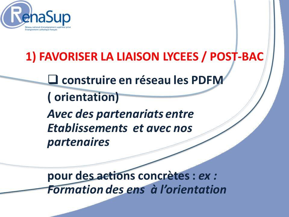 construire en réseau les PDFM ( orientation) Avec des partenariats entre Etablissements et avec nos partenaires pour des actions concrètes : ex : Formation des ens à lorientation 1) FAVORISER LA LIAISON LYCEES / POST-BAC