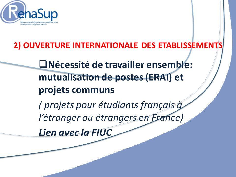 Nécessité de travailler ensemble: mutualisation de postes (ERAI) et projets communs ( projets pour étudiants français à létranger ou étrangers en France) Lien avec la FIUC 2) OUVERTURE INTERNATIONALE DES ETABLISSEMENTS