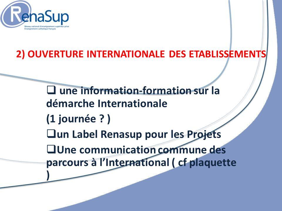 une information-formation sur la démarche Internationale (1 journée .