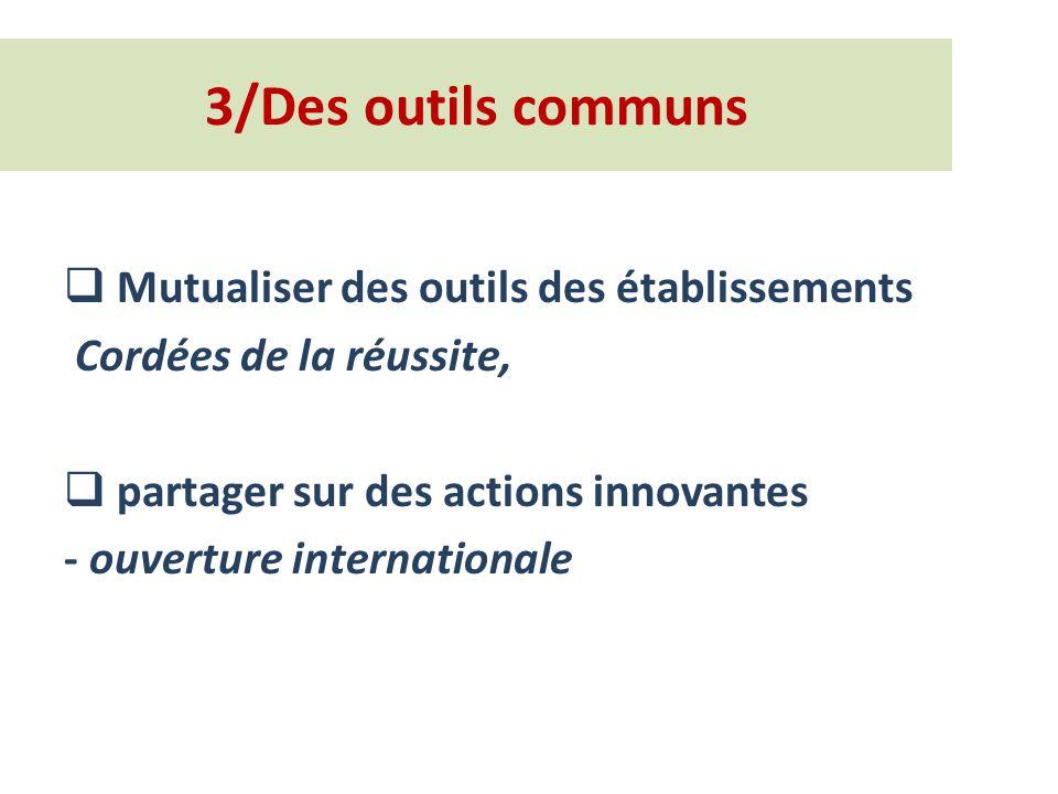 3/Des outils communs Mutualiser des outils des établissements Cordées de la réussite, partager sur des actions innovantes - ouverture internationale