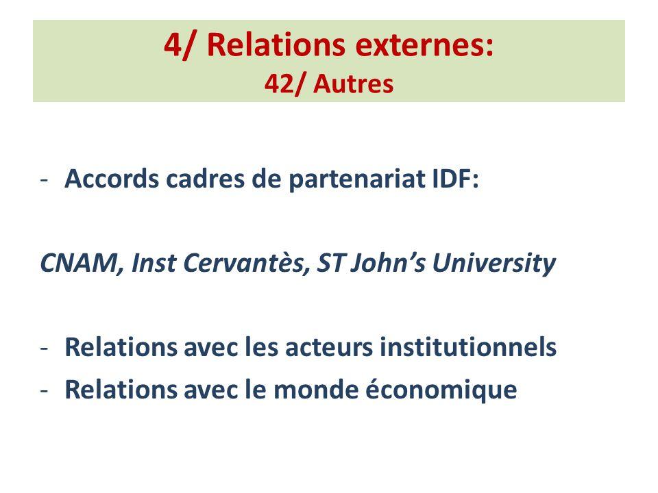 4/ Relations externes: 42/ Autres -Accords cadres de partenariat IDF: CNAM, Inst Cervantès, ST Johns University -Relations avec les acteurs institutionnels -Relations avec le monde économique