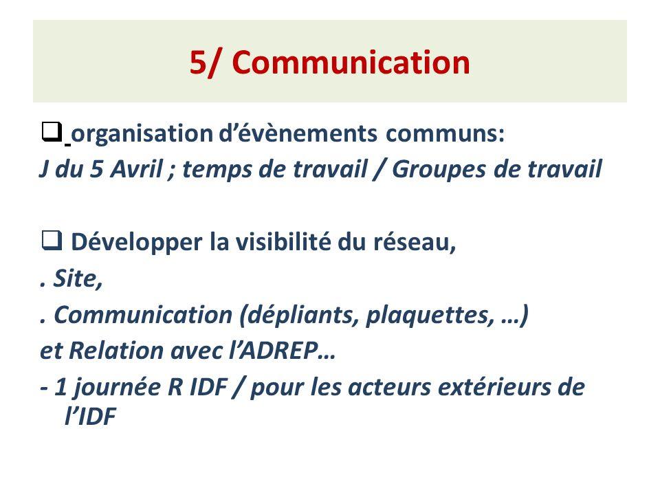 5/ Communication organisation dévènements communs: J du 5 Avril ; temps de travail / Groupes de travail Développer la visibilité du réseau,.