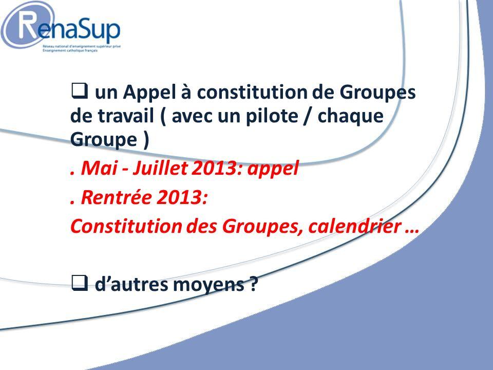 un Appel à constitution de Groupes de travail ( avec un pilote / chaque Groupe ).