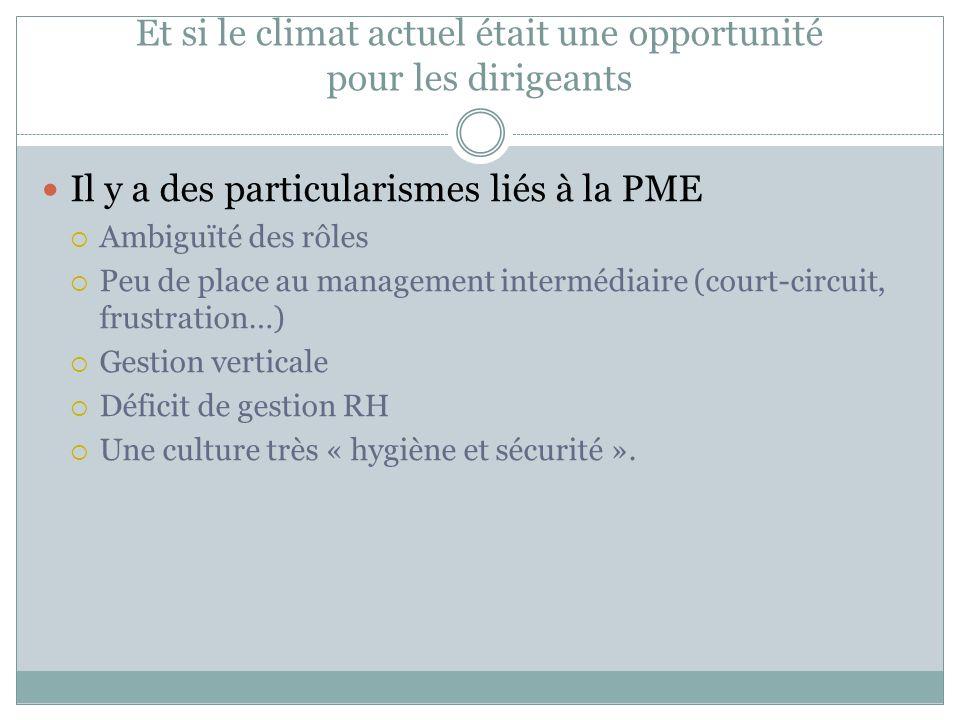 Et si le climat actuel était une opportunité pour les dirigeants Il y a des particularismes liés à la PME Ambiguïté des rôles Peu de place au manageme