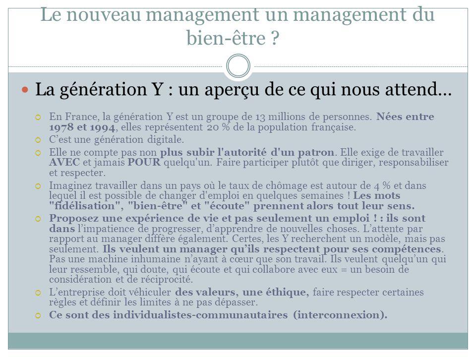 Le nouveau management un management du bien-être ? La génération Y : un aperçu de ce qui nous attend… En France, la génération Y est un groupe de 13 m
