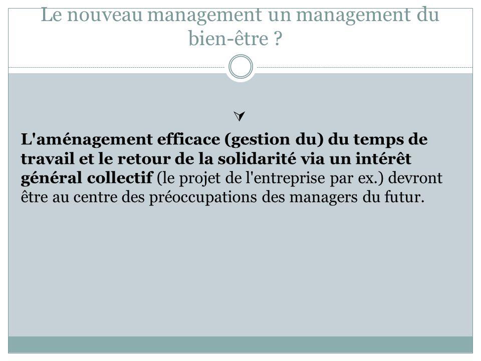 Le nouveau management un management du bien-être ? L'aménagement efficace (gestion du) du temps de travail et le retour de la solidarité via un intérê