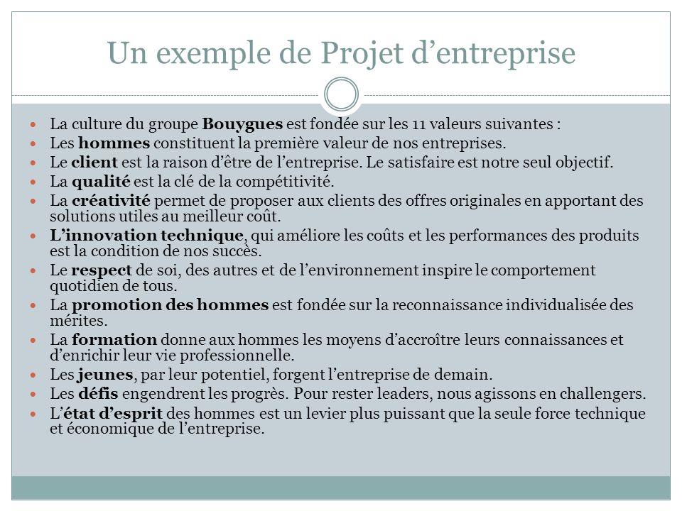 Un exemple de Projet dentreprise La culture du groupe Bouygues est fondée sur les 11 valeurs suivantes : Les hommes constituent la première valeur de