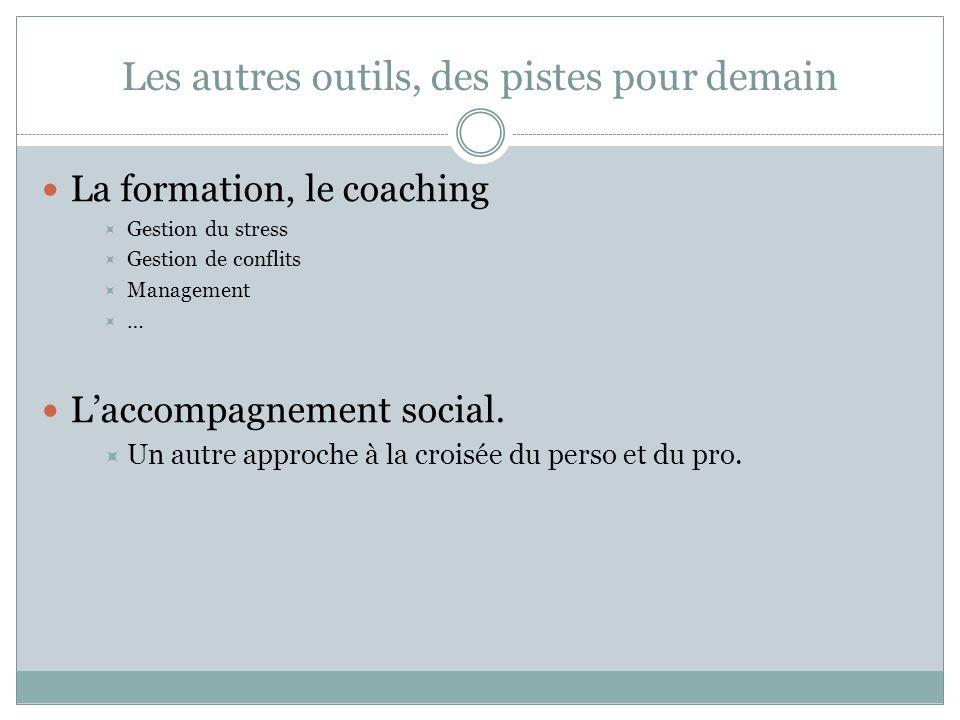 Les autres outils, des pistes pour demain La formation, le coaching Gestion du stress Gestion de conflits Management … Laccompagnement social. Un autr