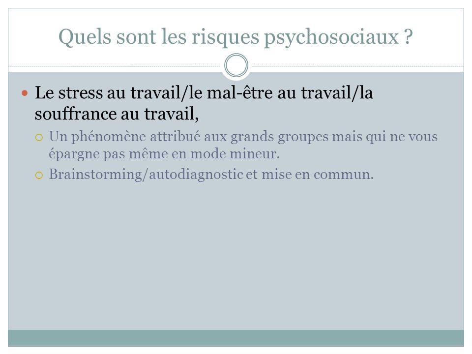 Quels sont les risques psychosociaux ? Le stress au travail/le mal-être au travail/la souffrance au travail, Un phénomène attribué aux grands groupes