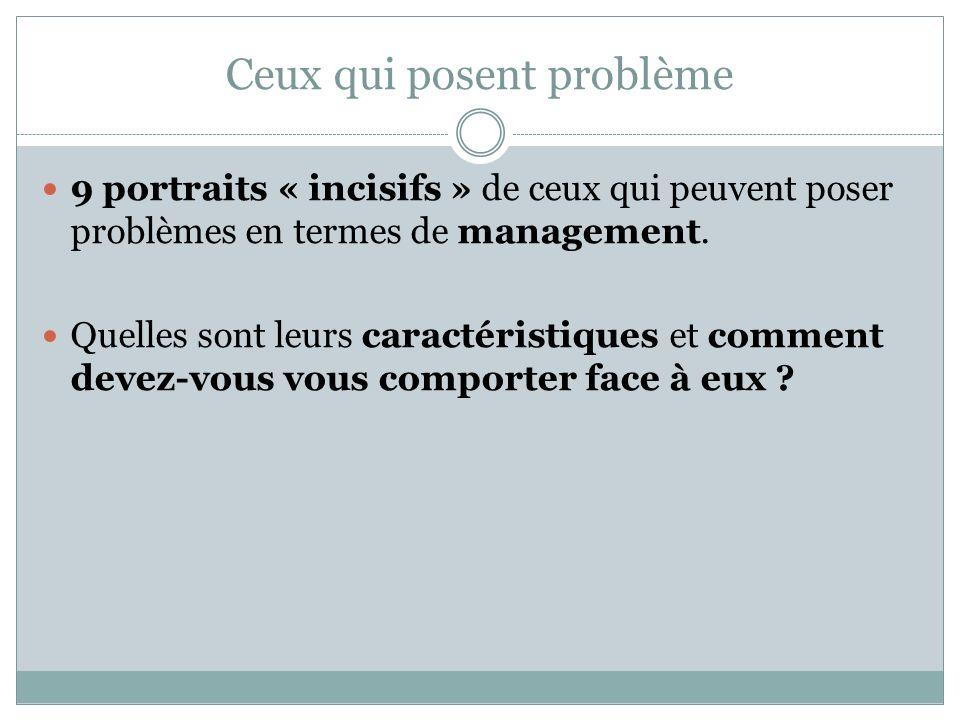 Ceux qui posent problème 9 portraits « incisifs » de ceux qui peuvent poser problèmes en termes de management. Quelles sont leurs caractéristiques et