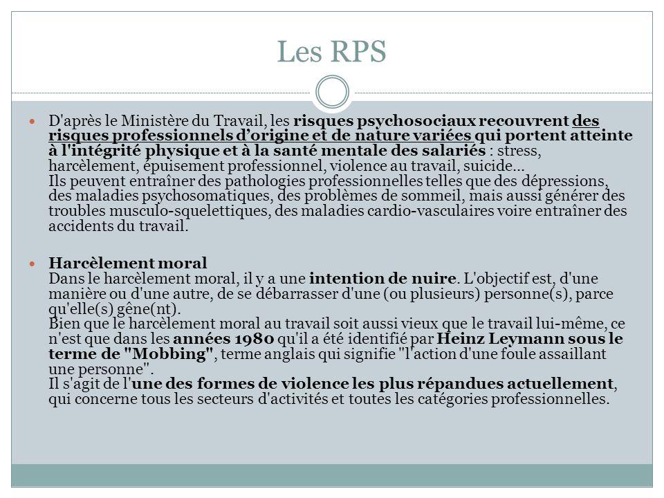 Les RPS D'après le Ministère du Travail, les risques psychosociaux recouvrent des risques professionnels dorigine et de nature variées qui portent att