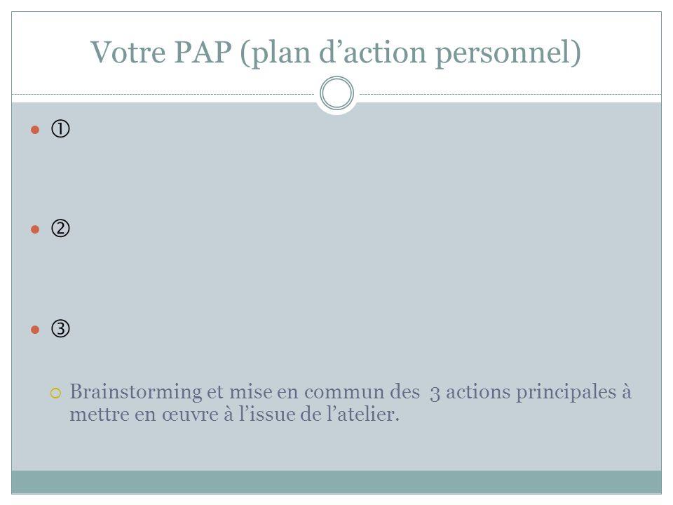 Votre PAP (plan daction personnel) Brainstorming et mise en commun des 3 actions principales à mettre en œuvre à lissue de latelier.