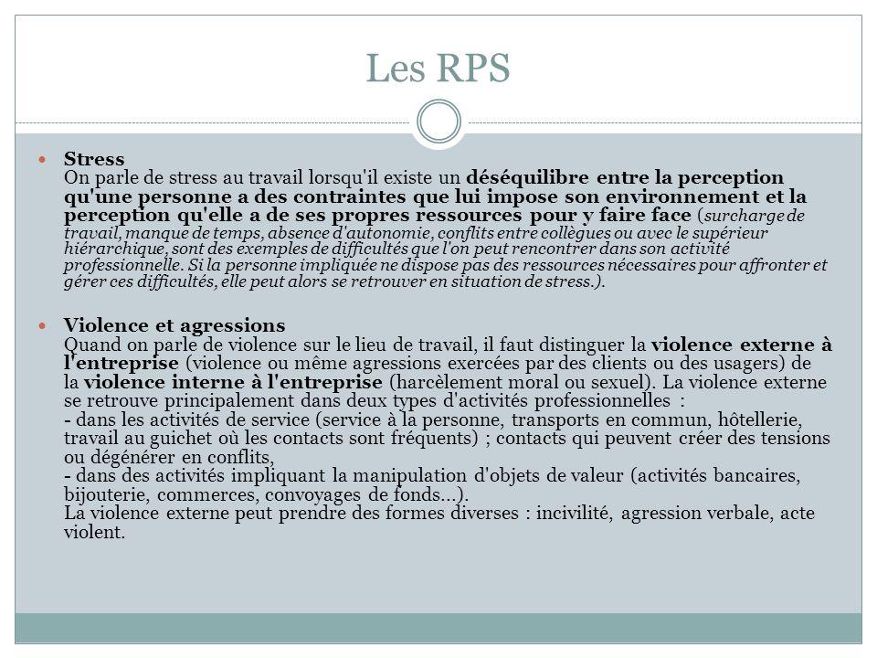 Les RPS Stress On parle de stress au travail lorsqu'il existe un déséquilibre entre la perception qu'une personne a des contraintes que lui impose son