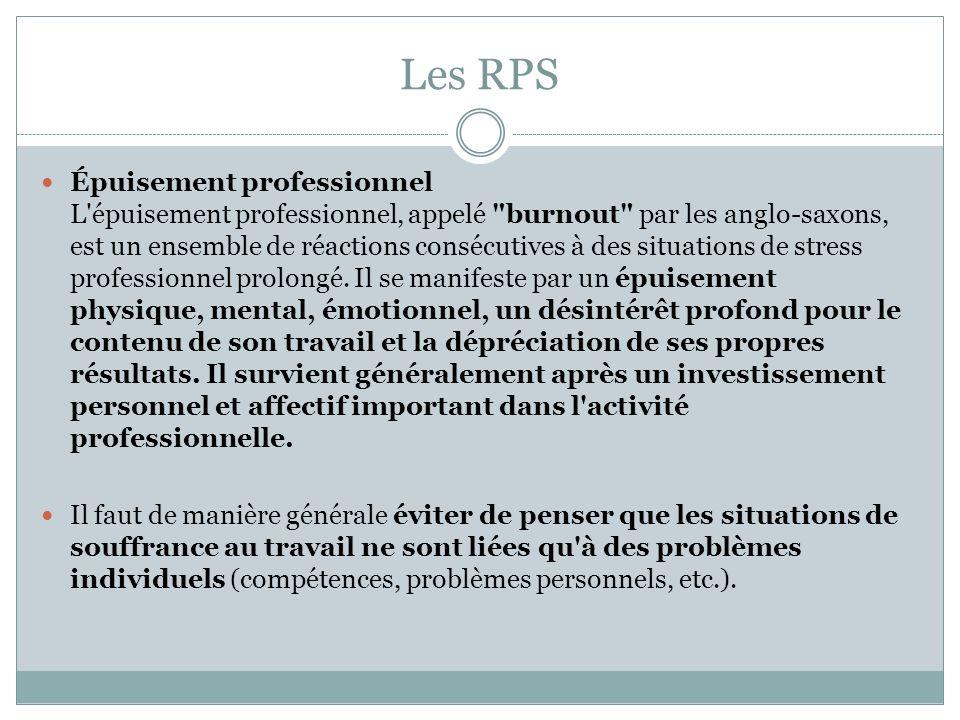 Les RPS Plusieurs études récentes tendent à confirmer le lien entre l environnement du travail et les manifestations de mal-être des personnes dans l entreprise.