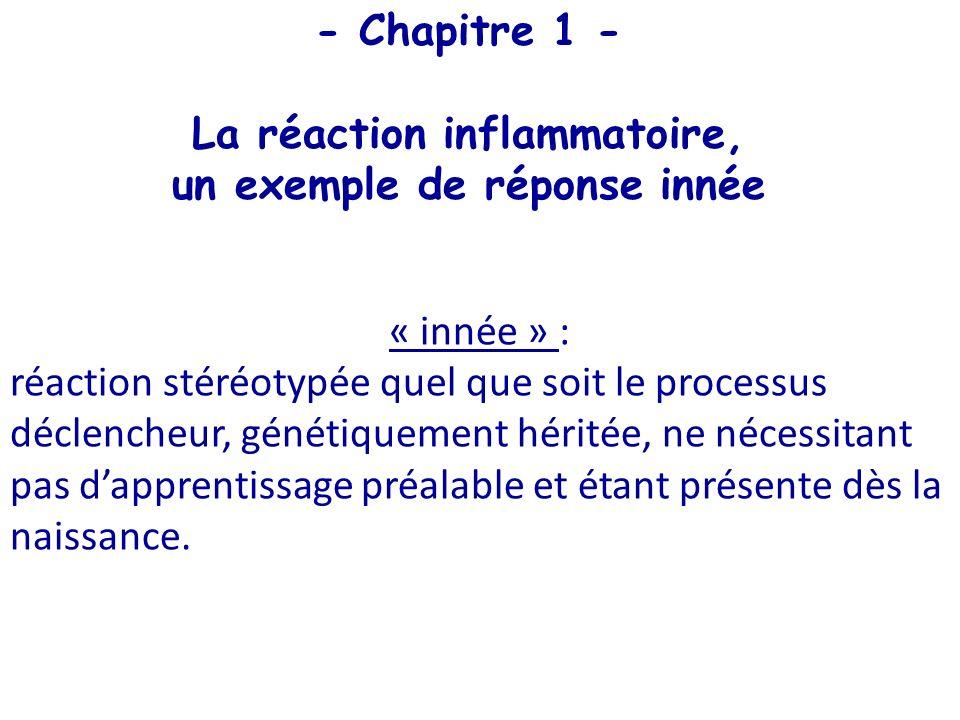- Chapitre 1 - La réaction inflammatoire, un exemple de réponse innée « innée » : réaction stéréotypée quel que soit le processus déclencheur, génétiq