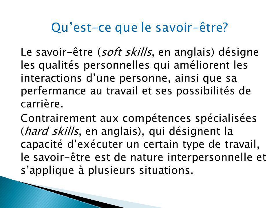 Le savoir-être (soft skills, en anglais) désigne les qualités personnelles qui améliorent les interactions dune personne, ainsi que sa perfermance au