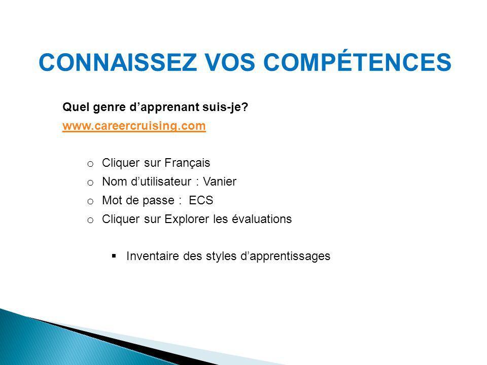 CONNAISSEZ VOS COMPÉTENCES Quel genre dapprenant suis-je? www.careercruising.com o Cliquer sur Français o Nom dutilisateur : Vanier o Mot de passe : E