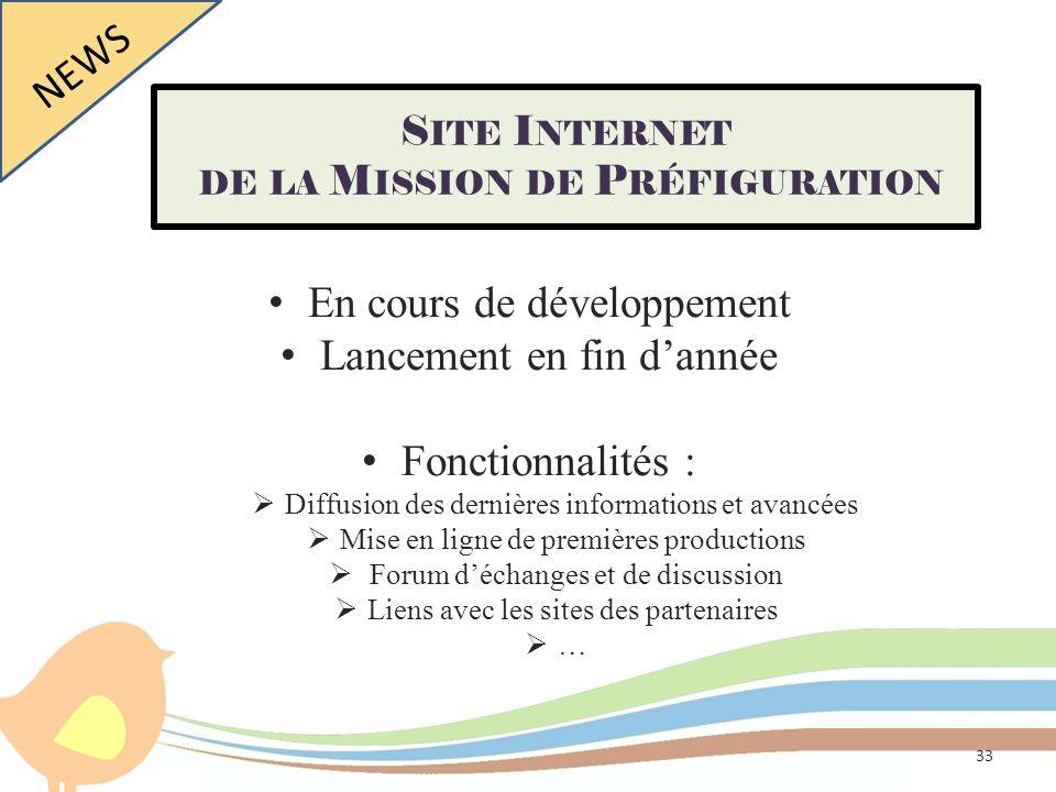 En cours de développement Lancement en fin dannée Fonctionnalités : Diffusion des dernières informations et avancées Mise en ligne de premières produc