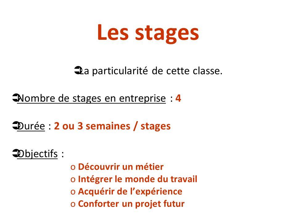 Les stages La particularité de cette classe. Nombre de stages en entreprise : 4 Durée : 2 ou 3 semaines / stages Objectifs : o Découvrir un métier o I