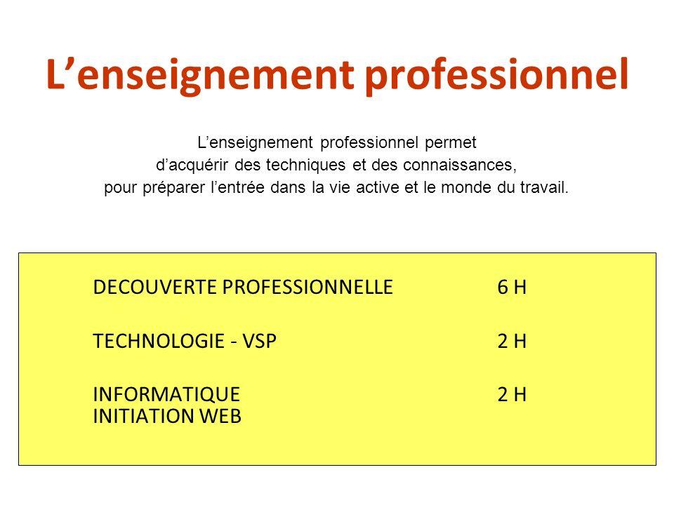 Lenseignement professionnel DECOUVERTE PROFESSIONNELLE6 H TECHNOLOGIE - VSP2 H INFORMATIQUE2 H INITIATION WEB Lenseignement professionnel permet dacqu