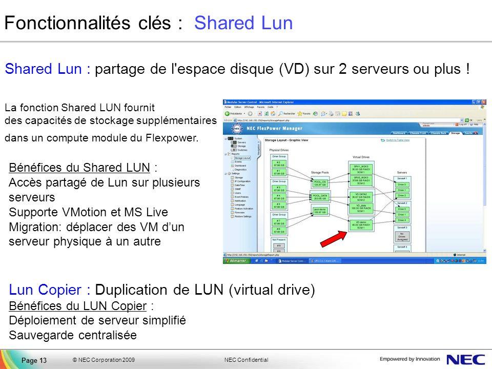 NEC Confidential © NEC Corporation 2009 Page 13 Fonctionnalités clés : Shared Lun Bénéfices du Shared LUN : Accès partagé de Lun sur plusieurs serveur