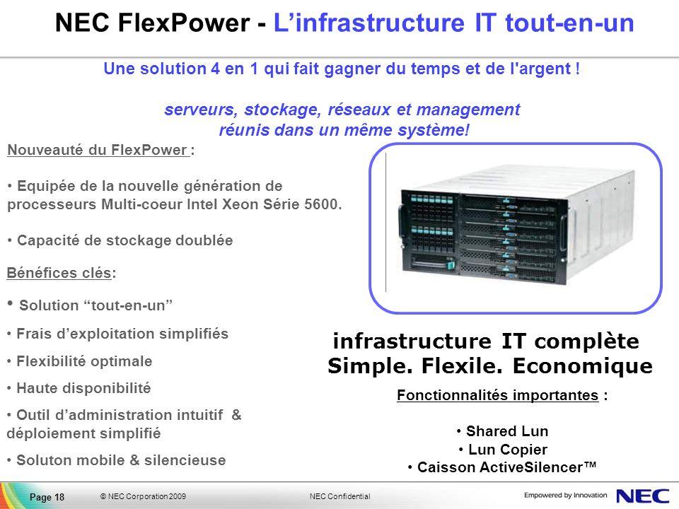 NEC Confidential © NEC Corporation 2009 Page 18 NEC FlexPower - Linfrastructure IT tout-en-un Une solution 4 en 1 qui fait gagner du temps et de l'arg