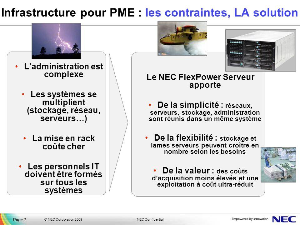 NEC Confidential © NEC Corporation 2009 Page 7 Le NEC FlexPower Serveur apporte De la simplicité : réseaux, serveurs, stockage, administration sont ré