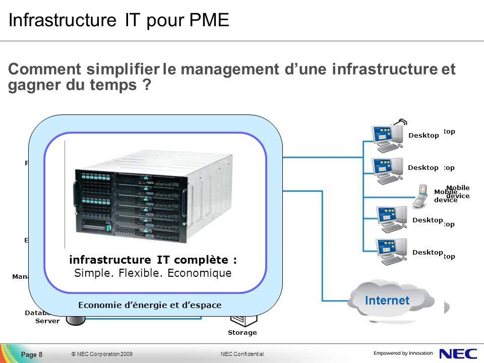 NEC Confidential © NEC Corporation 2009 Page 8 Infrastructure IT pour PME Comment simplifier le management dune infrastructure et gagner du temps ? De